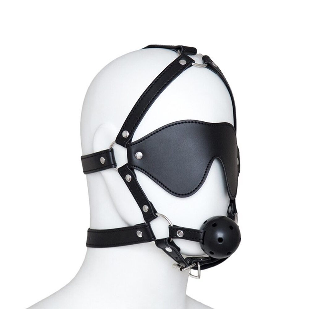 KIT VENDA E MORDAÇA HARNESS BALL GAG PRETO